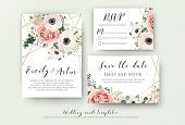 Wedding Invite, Invitation, Rsvp, Save The Date Card Design With Elegant Lavender Pink Garden Rose A poster