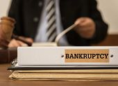 Bankruptcy Document Folder With Lawyer Work At Law Firm. Concept Of Bankruptcy Law, Bankrupt,bankrup poster