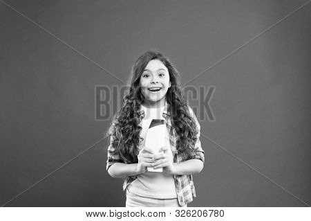 poster of Strong And Healthy Hair Concept. Long Lasting Freshness. Fresh It Up. Small Child Long Hair. Shampoo