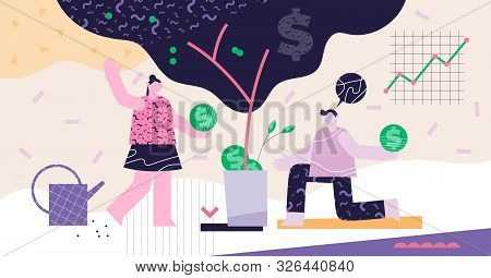 poster of Investing Modern Abstract Concept Vector Illustration. Deposit Profit And Wealth Growing Business. T