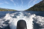 Boat In Motion With Foam Wake Behind The Stern Of Fast Moving Motor Boat poster