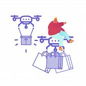 Drone Delivery Service Concept With People Controlling Quadcopter. Man Character Shopping Online. Te poster