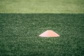 Soccer Sport Training Equipments Marker Cone On Green Outdoor Soccer Training Field, For Football Sp poster