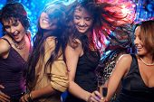 picture of hen party  - Group shot of young women celebrating their friend - JPG