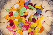 A Scattering Of Marmalade Sweets In A Sweet Powder. Sweets Of Different Types And Different Shapes I poster