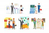 Professions Flat Vector Illustrations Set. Office Workers, Analysts Cartoon Characters. Doctor And E poster