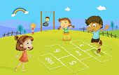 Illustration of kids playing hopscotch