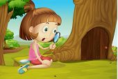 Cute girl with magnifying glass