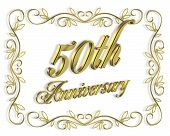 picture of 50th  - Illustration composition 3D design for 50th anniversary background or invitation with golden text - JPG