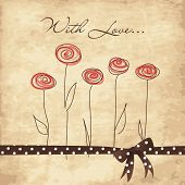 A bunch of roses with love. Greeting card in vintage style