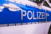 -polizei- Is The German Word For Police, Here Written On A German Police Car poster