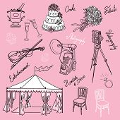 Set of beautiful wedding doodles. Everything that you need for a wedding organizer