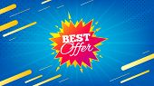 Best Offer Badge. Discount Banner Shape. Sale Coupon Bubble Icon. Abstract Background. Modern Concep poster