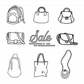 Collection Of Bag Design Vector Outline Isolated White Background. Fashionable Hand Bag Icon Outline poster