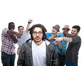 image of pressure point  - Young group of men who are bullying one of them - JPG