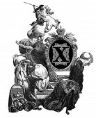 Luxurious Victorian initials letter X, after an engraving by Gustav Dore,