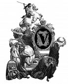Luxurious Victorian initials letter V, after an engraving by Gustav Dore,