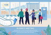 Business Meeting In Airport Organization Advertising Flat Poster. Cartoon Office Female Team Secreta poster
