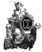 Luxurious Victorian initials letter D, after an engraving by Gustav Dore,