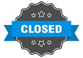 Closed Blue Label. Closed Isolated Seal. Closed poster