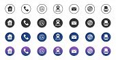Contact Icons. Information Business Communication Symbols Collection. Call Internet Location, Addres poster