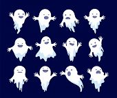 Ghost. Halloween Spooky Phantom, Scary Spirits. Mystery Dead Monsters Cartoon Vector Ghostly Charact poster