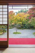 Idyllic Garden In Kyoto, Japan In Autumn Season poster