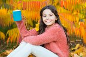 Every Morning Begins With Coffee. Happy Little Child Hold Cup With Hot Drink On Autumn Morning. Smal poster