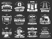 Tools Of Construction, Repair, Carpentry And Interior Design Vector Icons. Hammer, Screwdriver And T poster