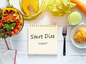 Healthy Eating, Dieting, Slimming And Weight Loss Goals Concept. Target Of Diet Plan On Paper With S poster