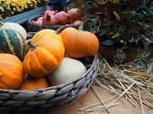 Autumn Composition With Pumpkins, Straw And Maple Leaves. poster