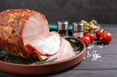 Delicious Cooked Ham Served On Wooden Table poster