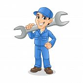 Mechanic Man Holding Huge Wrench For Service, Repair Or Maintenance Mascot Concept Cartoon Character poster