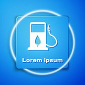 White Bio Fuel Concept With Fueling Nozzle And Leaf Icon Isolated On Blue Background. Gas Station Wi poster
