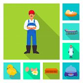 Vector Illustration Of Countryside And Plant Icon. Collection Of Countryside And Farming Stock Vecto poster