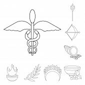 Vector Illustration Of Mythology And God Sign. Set Of Mythology And Culture Stock Symbol For Web. poster