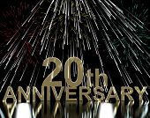 Gold 20th Anniversary With Fireworks For Twentieth Celebration Or Party