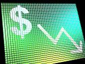 Dollar mit Pfeil nach unten zeigen Depression Rezession und Wirtschaftskrise