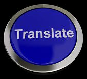 Translate Button In Blue Showing Online Translator