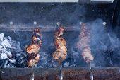 Skewers On Skewers.roasted Meat Cooked At Barbecue.bbq Fresh Beef Meat Chop Slices. Traditional East poster