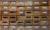 Wooden drawers for archives documents files and folders poster