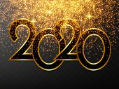 Golden Vector Luxury Text 2020 Happy New Year. Gold Festive Numbers Design, Diamonds Texture. Gold S poster