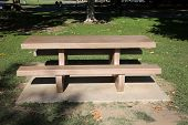 picnic table. park lunch table. table. Picnic Table outside in a public park. poster