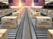 Made in USA United States. Cardboard boxes with text made in USA and american flag on the roller con poster