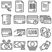 Finance Line Icons Set. Linear Style Symbols Collection, Outline Signs Pack. Vector Graphics. Set In poster