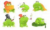 Green Frog Cartoon Character Of Different Activities Set, Funny Amphibian Animal With Various Emotio poster