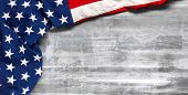US American flag on worn white wooden background. For USA Memorial day, Veterans day, Labor day, or poster