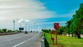 Emergency Sos Telephone Installed At Roadside. Highway Sos Call Box. Motorway Emergency Roadside Cal poster