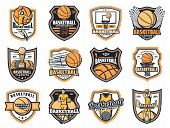 Basketball Sport Icons With Vector Balls, Players And Winner Trophy Cups, Basket, Hoop And Scoreboar poster