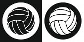Volleyball Ball Icon. Silhouette Volleyball Ball On A Black And White Background. Sports Equipment.  poster